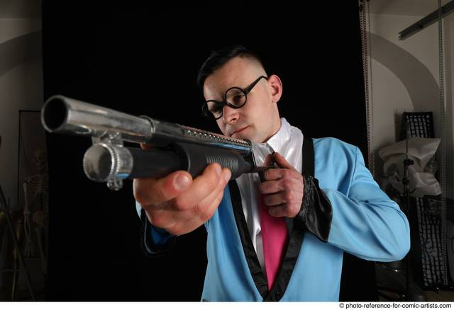 Man Adult Muscular White Fighting with gun Standing poses Business