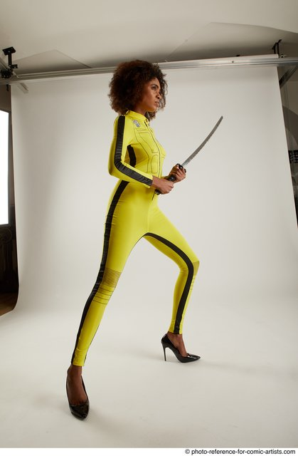 Woman Adult Average Black Fighting with sword Standing poses Casual