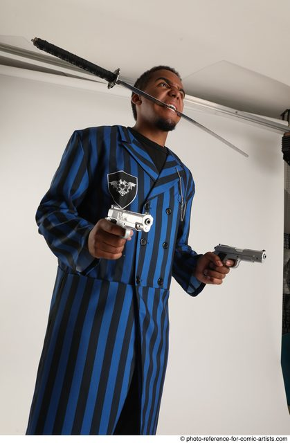 Man Adult Average Black Fighting with gun Standing poses Casual