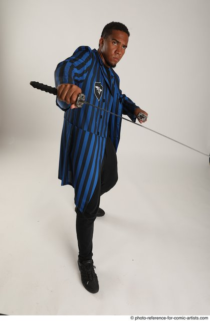 Man Adult Average Black Fighting with sword Standing poses Casual