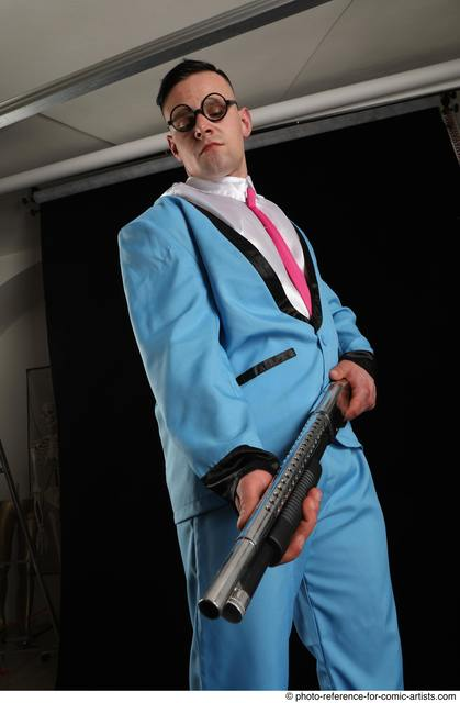 Man Adult Muscular White Standing poses Business Fighting with shotgun