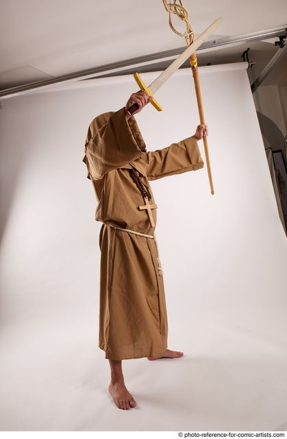 Man Adult Chubby White Fighting with spear Standing poses Coat