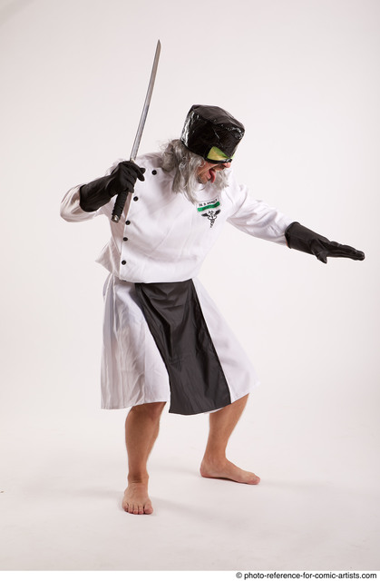 Man Adult Chubby White Fighting with sword Standing poses Casual