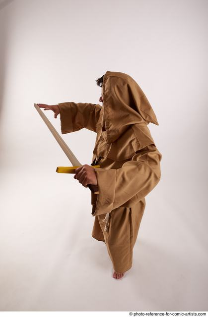 Man Adult Chubby White Fighting with sword Standing poses Coat