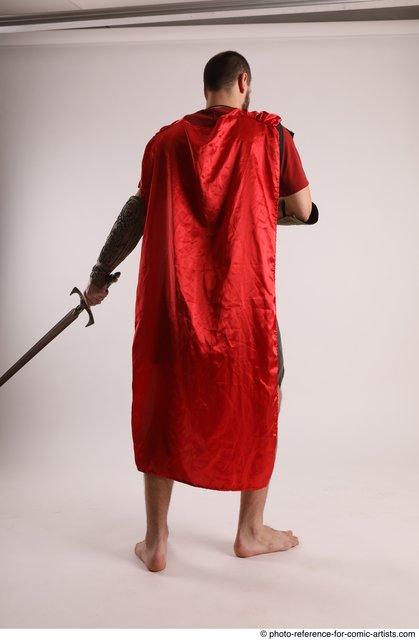 Man Adult Athletic White Fighting with sword Standing poses Casual
