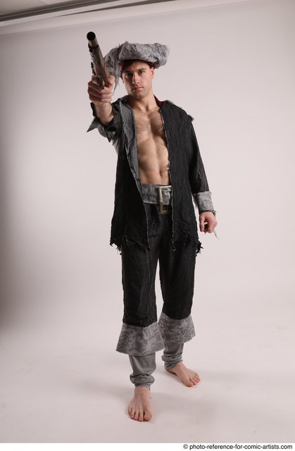 Man Adult Average White Fighting without gun Standing poses Coat