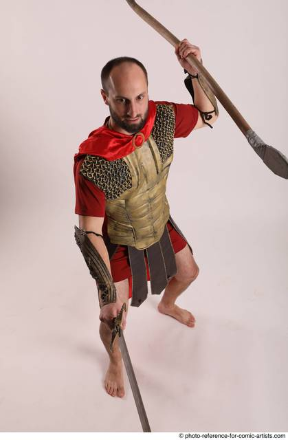Man Adult Athletic White Fighting with spear Standing poses Army