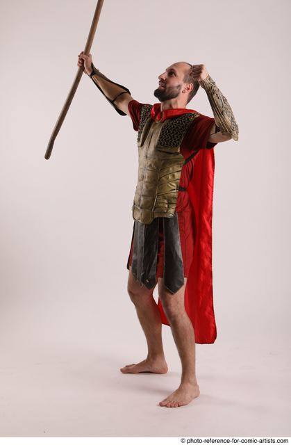 Man Adult Athletic White Fighting with spear Standing poses Casual