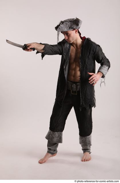 Man Adult Average White Fighting with sword Standing poses Casual