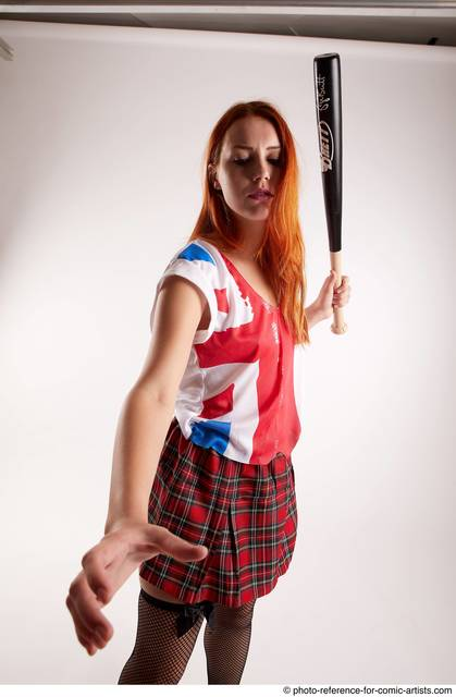 Woman Adult Athletic White Standing poses Casual Fighting with bat
