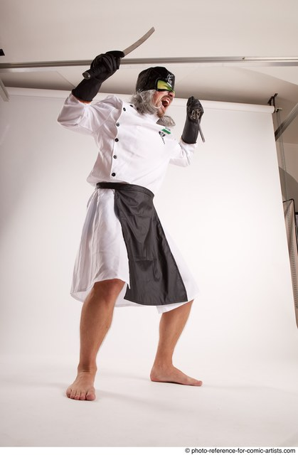 Man Adult Chubby White Fighting with knife Standing poses Casual