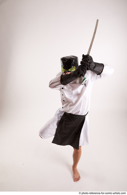 Man Adult Chubby White Fighting with sword Fight Coat