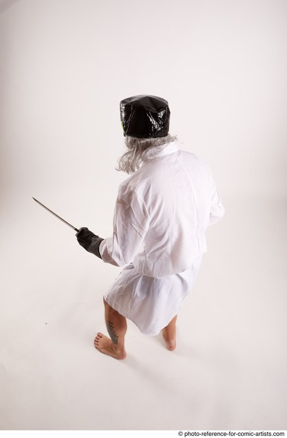 Man Adult Chubby White Fighting with knife Standing poses Coat