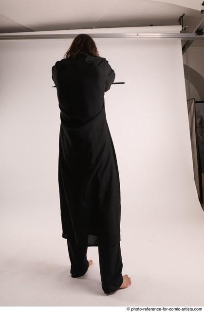 Man Adult Athletic White Magic Standing poses Coat