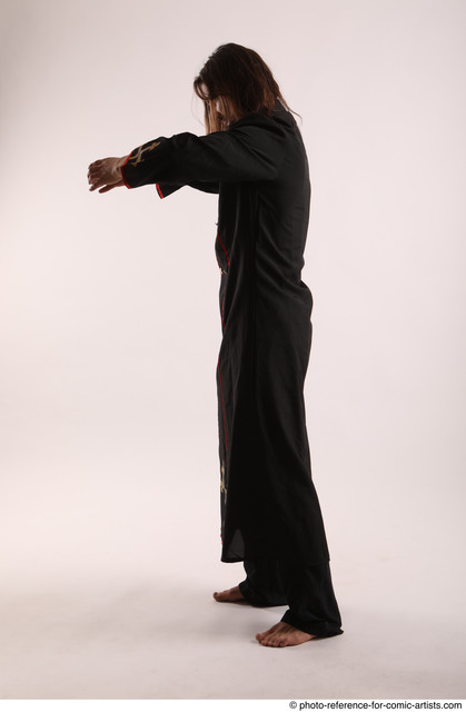 Man Adult Athletic White Fighting without gun Standing poses Coat