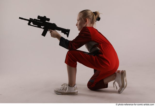 Woman Young Athletic White Fighting with gun Kneeling poses Army