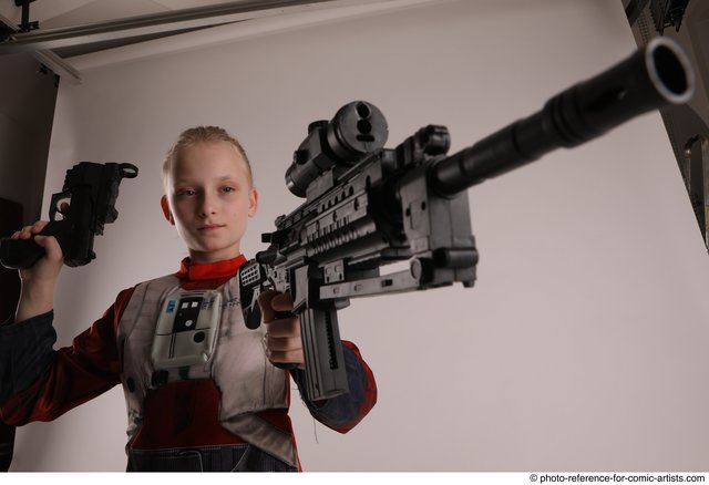 Woman Young Athletic White Fighting with gun Standing poses Army