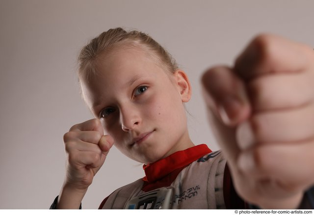 Woman Young Athletic White Fist fight Standing poses Army