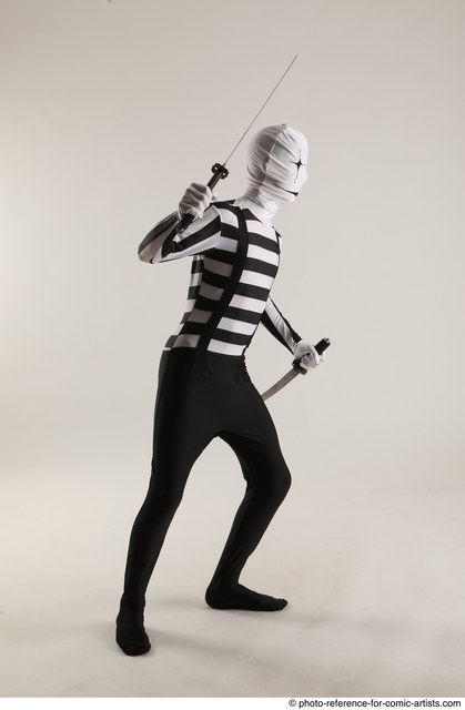 Man Adult Average Another Fighting with knife Standing poses Casual