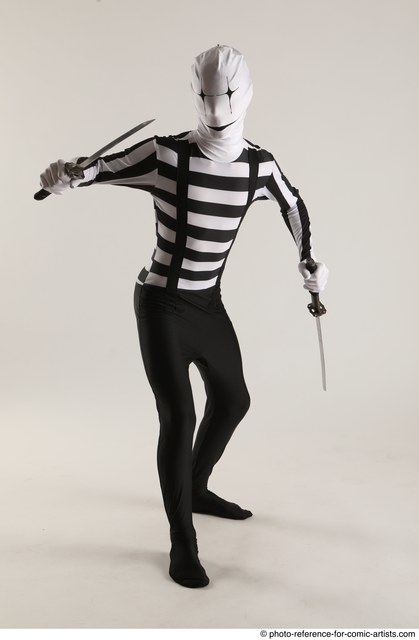 Man Adult Athletic Another Fighting with knife Standing poses Casual