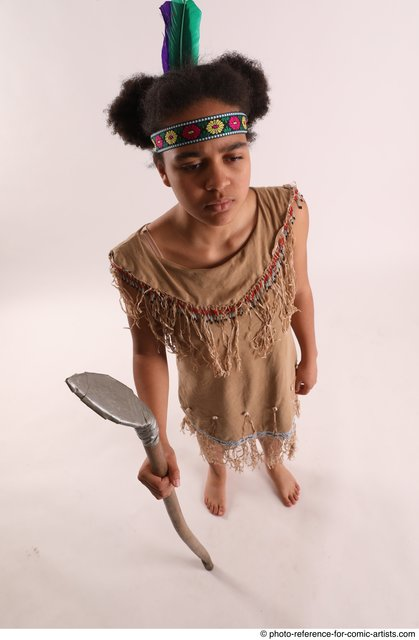 Woman Young Average Black Fighting with spear Standing poses Casual