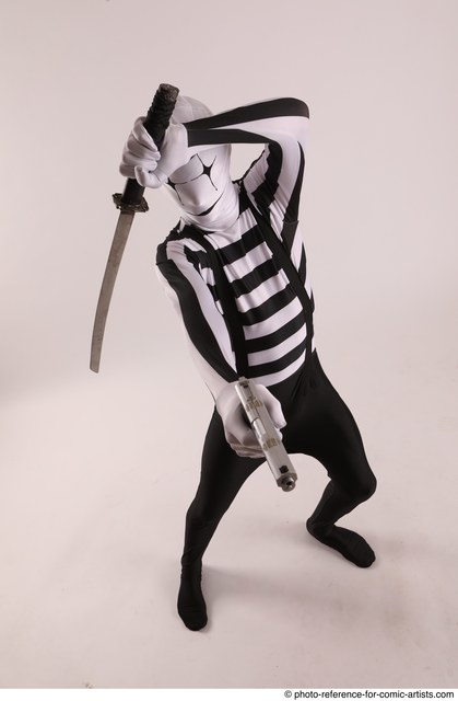 Man Adult Athletic Another Fighting with sword Standing poses Casual