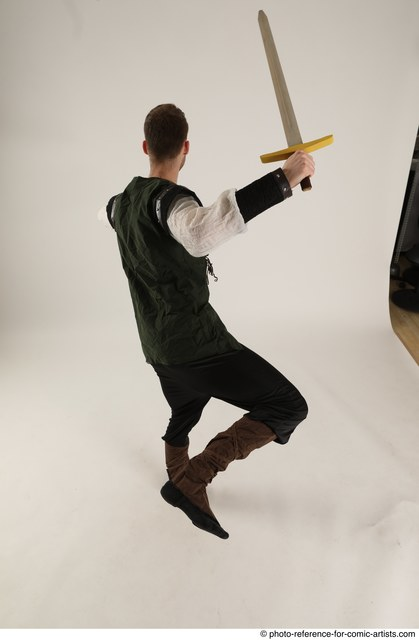 Man Adult Athletic White Fighting with sword Moving poses Casual
