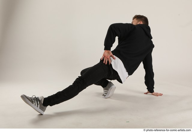 Man Adult Athletic White Sitting poses Casual Dance