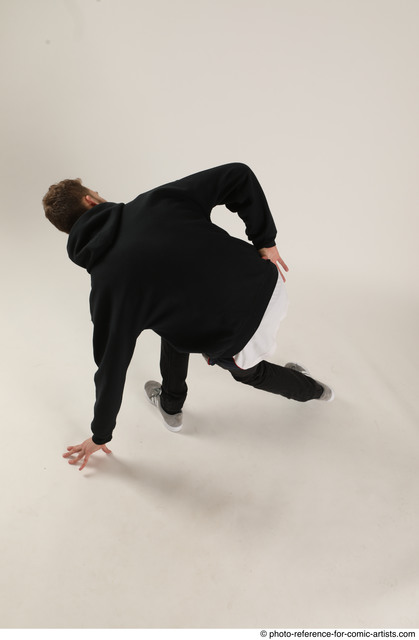 Man Adult Athletic White Moving poses Pants Dance