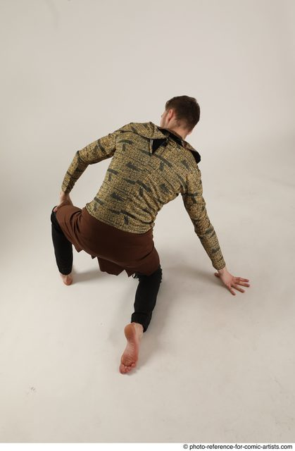 Man Adult Athletic White Kneeling poses Casual Dance