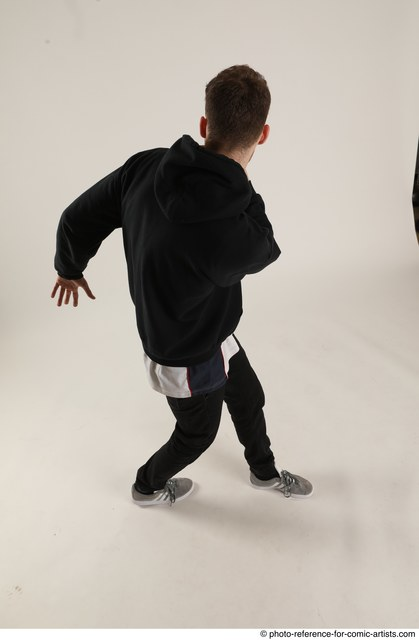 Man Adult Athletic White Moving poses Sportswear Dance