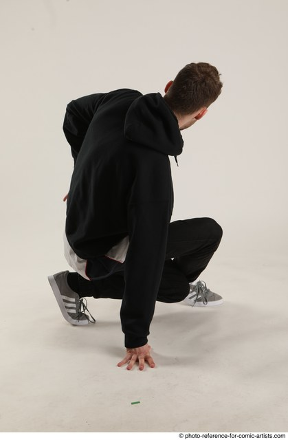 Man Adult Athletic White Kneeling poses Sportswear Dance