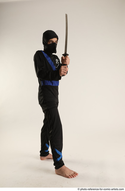 Man Young Athletic White Fighting with sword Standing poses Casual