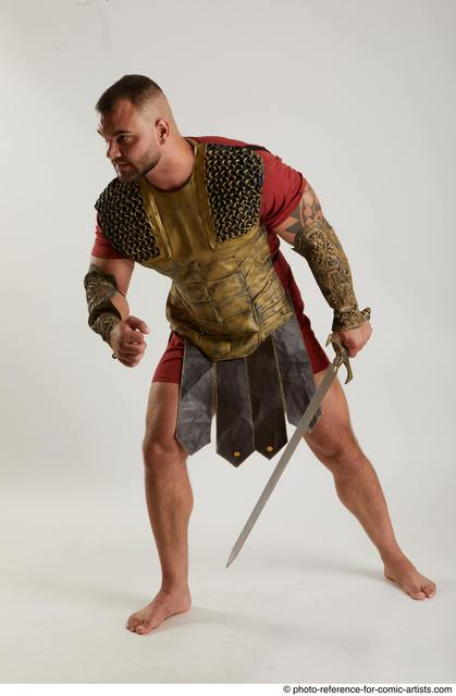 Man Adult Muscular White Fighting with sword Standing poses Army