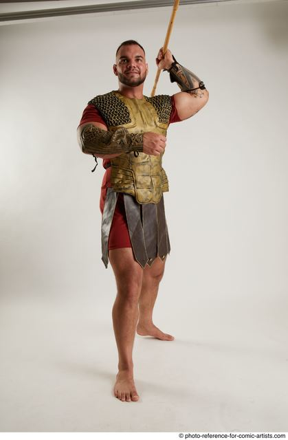Man Adult Muscular White Fighting with spear Standing poses Army