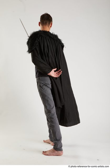 Man Adult Athletic White Fighting with sword Standing poses Coat