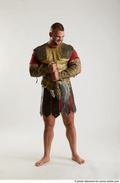 Man Adult Muscular White Holding Standing poses Army