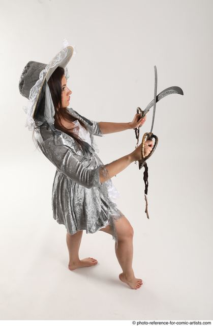 Woman Adult Athletic White Fighting with sword Standing poses Casual