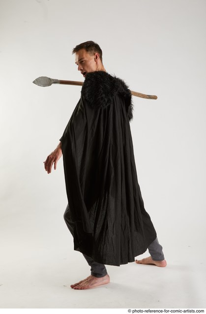 Man Adult Athletic White Fighting with spear Standing poses Coat