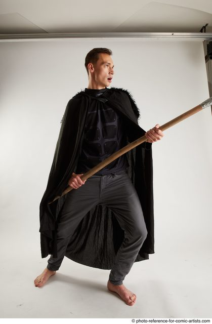 Man Adult Athletic White Fighting with spear Coat