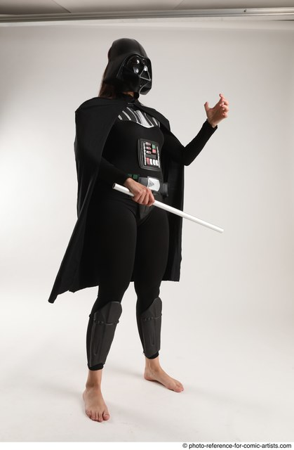 Woman Adult Average White Fighting with sword Standing poses Coat