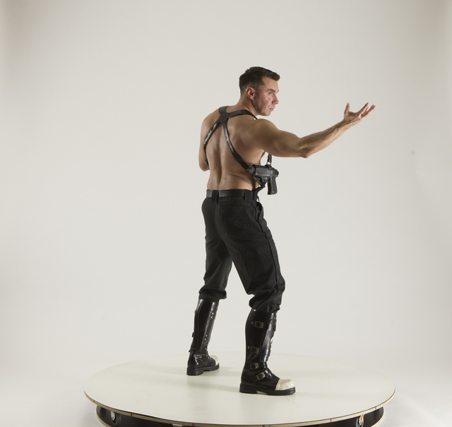 Man Adult Muscular White Fighting without gun Standing poses Pants