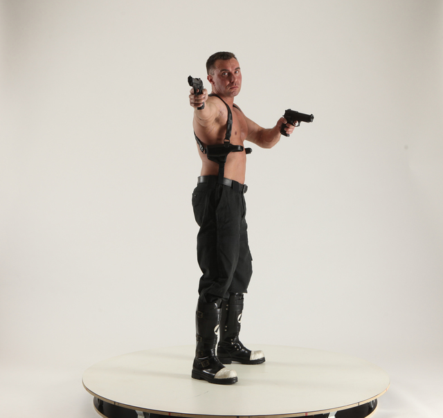 Man Adult Muscular White Fighting with gun Standing poses Pants