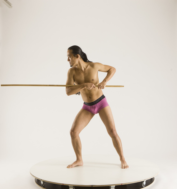 Man Adult Athletic White Fighting with spear Standing poses Pants