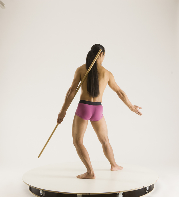 Man Adult Athletic Fighting with spear Standing poses Pants Asian