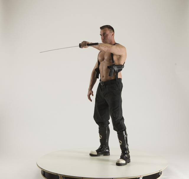 Man Adult Muscular White Martial art Standing poses Pants