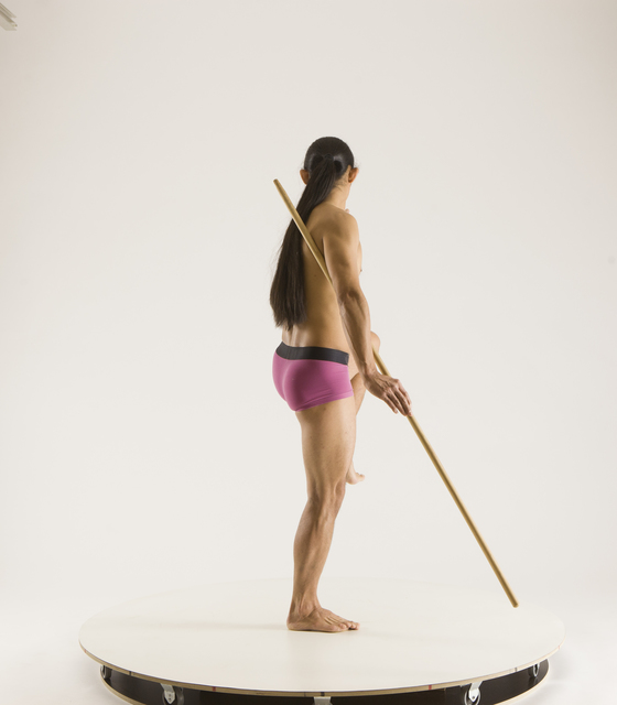 Man Adult Athletic Fighting with spear Standing poses Underwear Asian