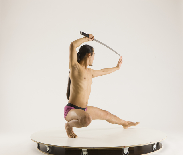 Man Adult Athletic Fighting with sword Kneeling poses Underwear