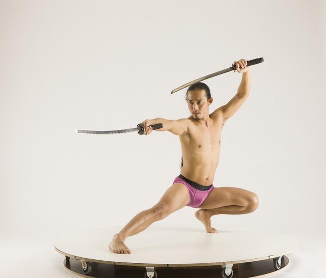 Man Adult Athletic Fighting with sword Kneeling poses Underwear