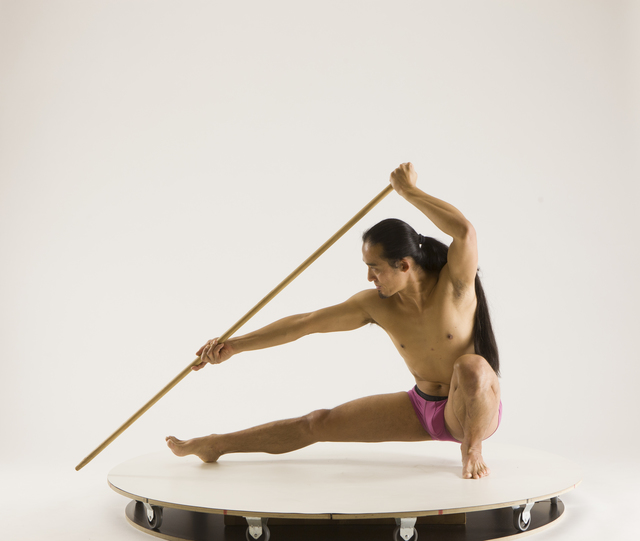 Man Adult Athletic Fighting with spear Sitting poses Underwear Asian